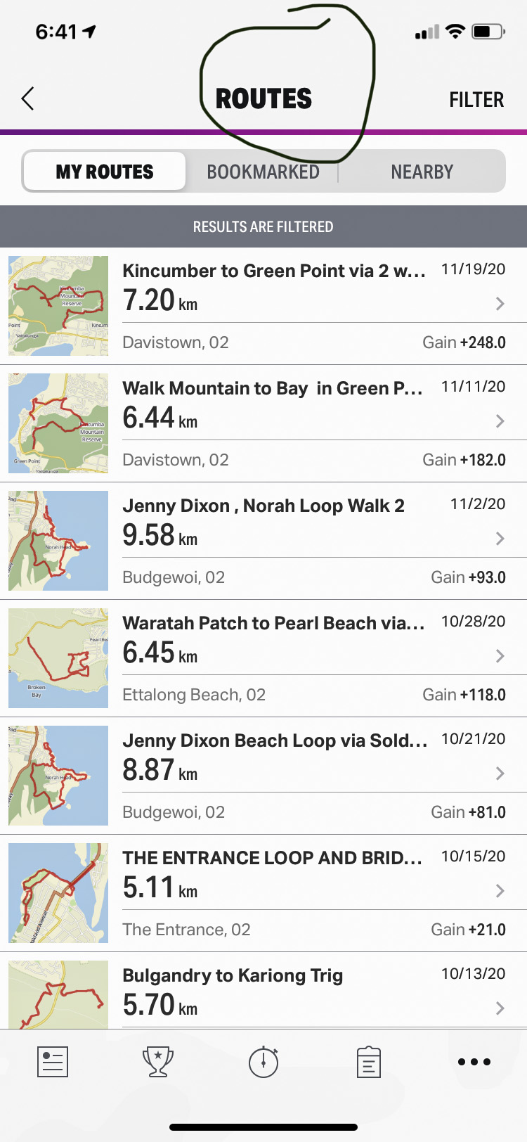 Screenshot of the My Routes window on an iPhone in the Map My Walk App