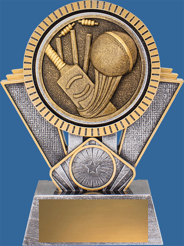 Cricket Trophies Spartan Series. This series is an antique silver and Bronze tone Award. Comes in 3 sizes and is generic in appearance. The icon detail is bat ball and stumps.