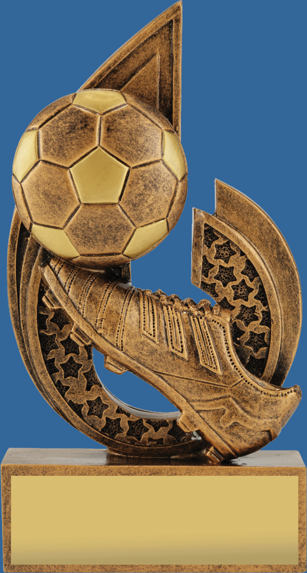 Soccer Trophies. Bronze Generic Resin Football Trophy features ball and boot.
