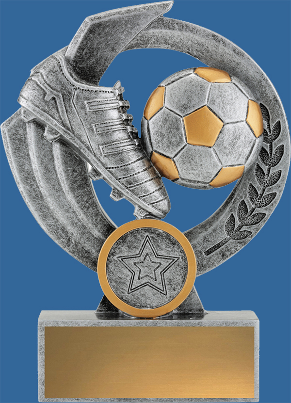 Soccer Trophy Falcon Series#32538_t. Generic antique silver and Gold trim. Boot and ball detail.