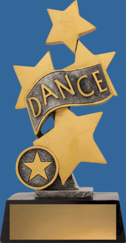 Generic style trophy with 4 stars and a ribbon. Two tones of antique silver and gild tone. A tall well designed trophy to suit all dance styles. A solid resin trophy which is economically priced