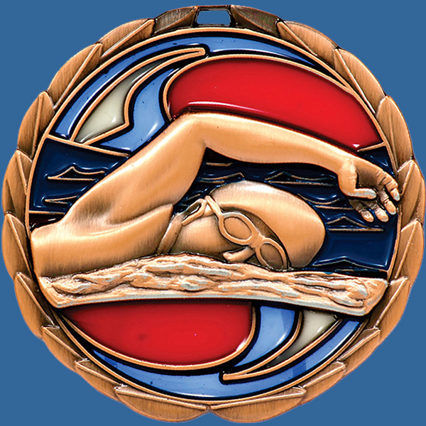 MS902Bt Stained Glass Swimming Medal Antique Bronze