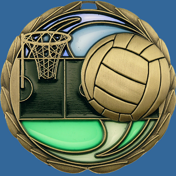 MS911Gt Stained Glass Netball Medal Antique Gold