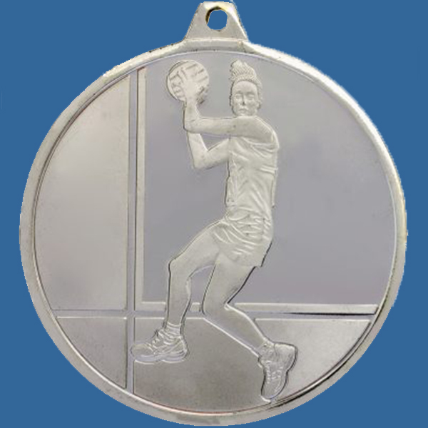 Netball Medal Silver Glacier Frosted Series MZ911St